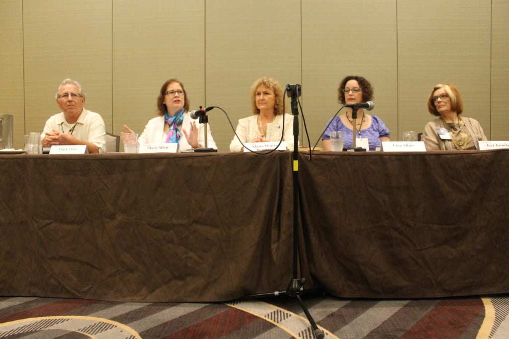 Panelists Mark Troy, Stacy Allen, Alana White, Lisa Alber, and Kay Kendall speaking on Exotic and Foreign Locations